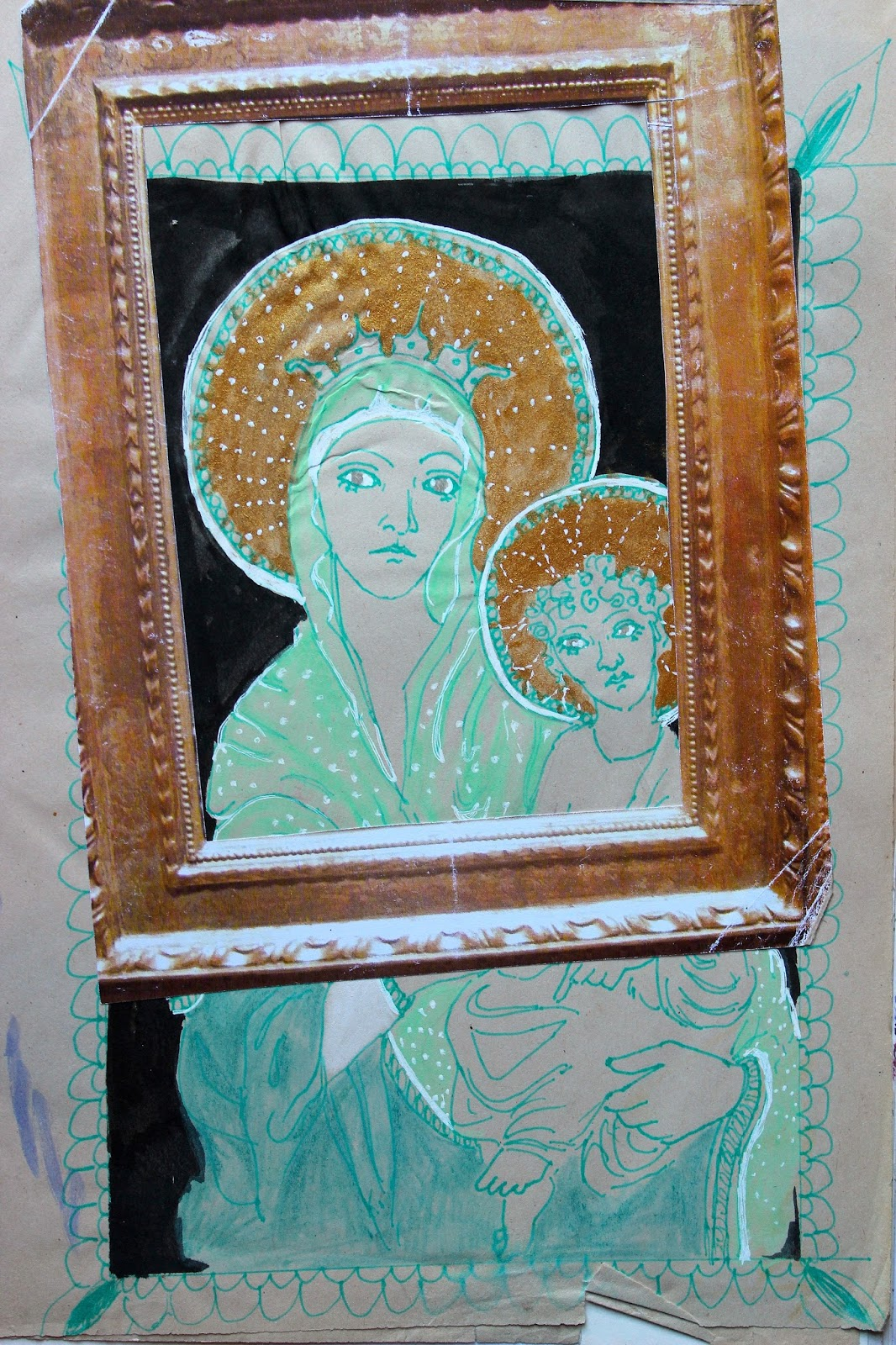 Print Collage Frame Madonna Child Halo Colours