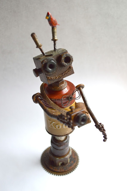 Vintage Kodak Canister Robot by Robin Davis Studio