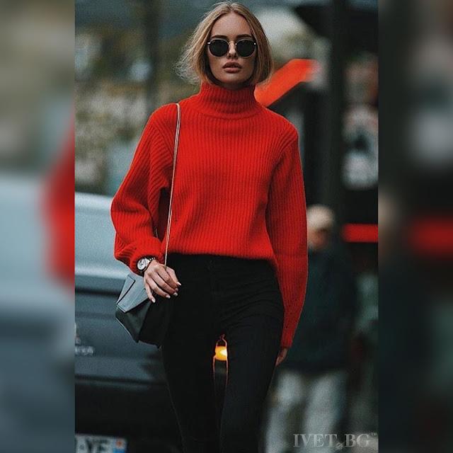 Μακρυμάνικο  κόκκινο γυναικείο  πουλόβερ MERANDA