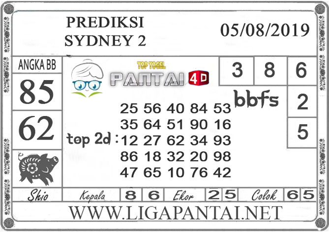 "PREDIKSI TOGEL ""SYDNEY 2"" PANTAI4D 05 AGUSTUS 2019"