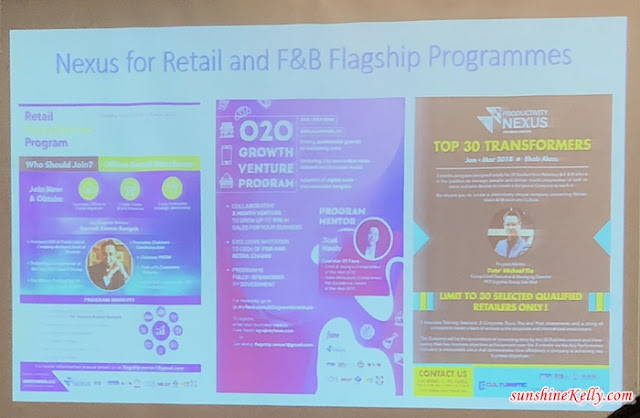 The Productivity NEXUS for Retail & F&B new flagship programs are divided into three areas; Retail Digitalisation Program; O2O Growth Venture Program; and Top Transformers