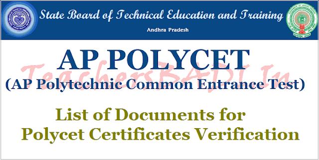 List of documents,Certificates verification,ap polycet 2017