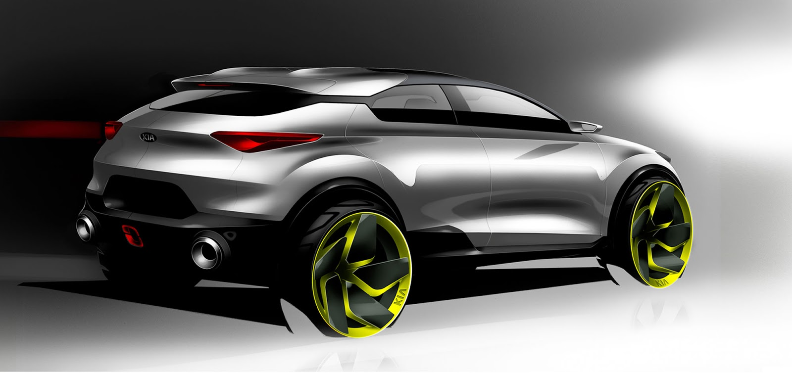Kia Stonic sketch - option 1 styling from the rear