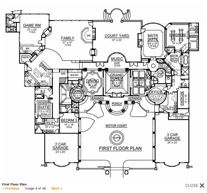 Mansion Mediterranean 32157aa Floor Plan: Mansions & More: 9,000 Square Foot Mediterranean W/ Floor