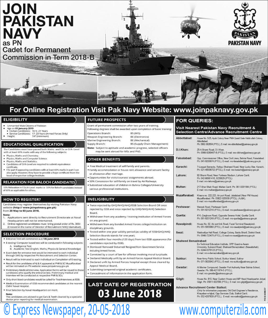 PN Cadet for Permanent Commission in Term 2018-B at Pakistan Navy
