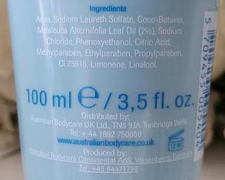 Australian Bodycare Skin Wash ingredients