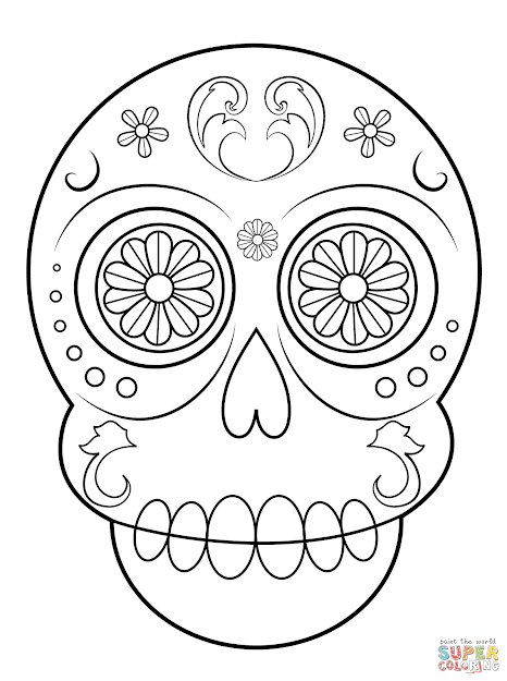 Click The Simple Sugar Skull Coloring Pages