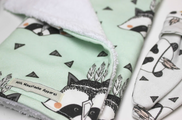 Milk Moustache Apparel Mint Racoon Burp Cloth