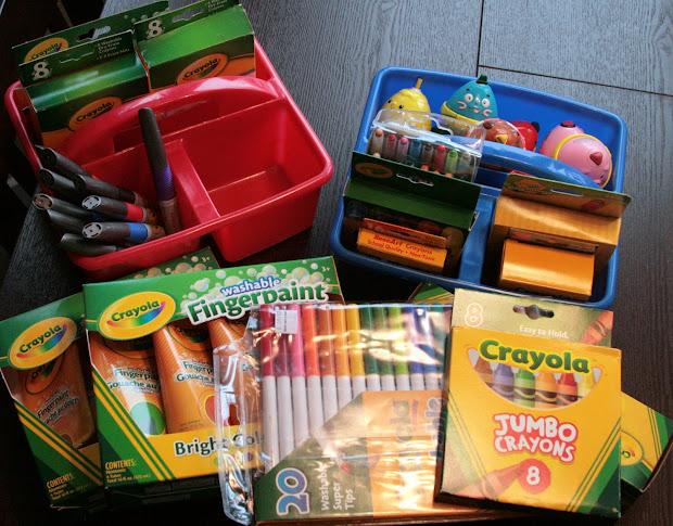 Navy Stripe Organizing Kids Art Supplies