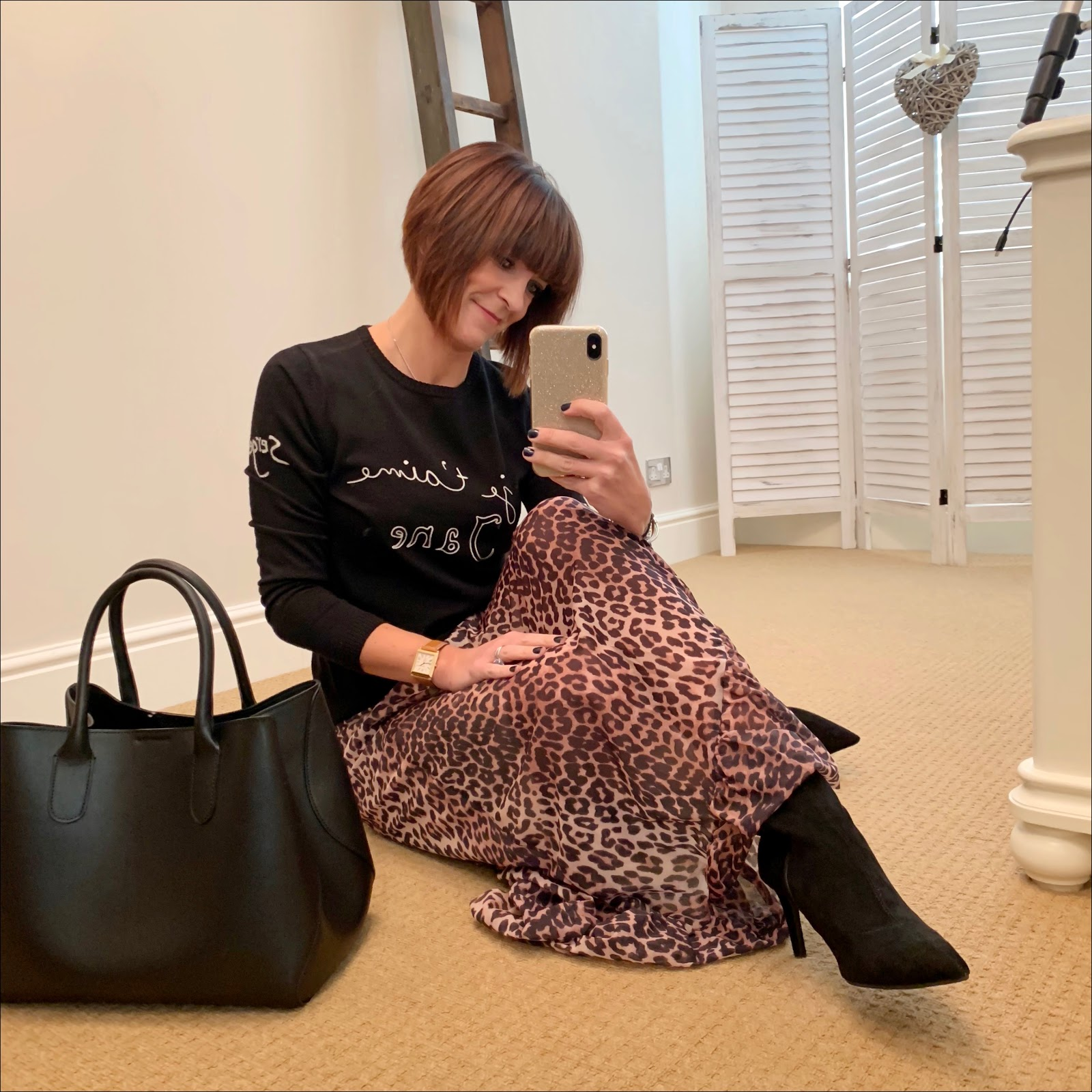 my midlife fashion, bella freud je taime jane jumper, ganni mesh leopard print wrap skirt, marks and spencer stiletto heel velvet ankle boots, madeleine leather tote