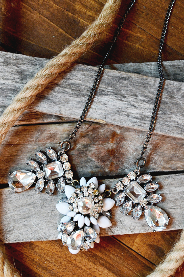 crystal statement necklace rustic