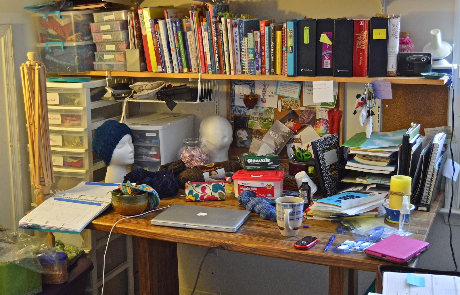 Knitting, art and planning projects spread all over my desk.