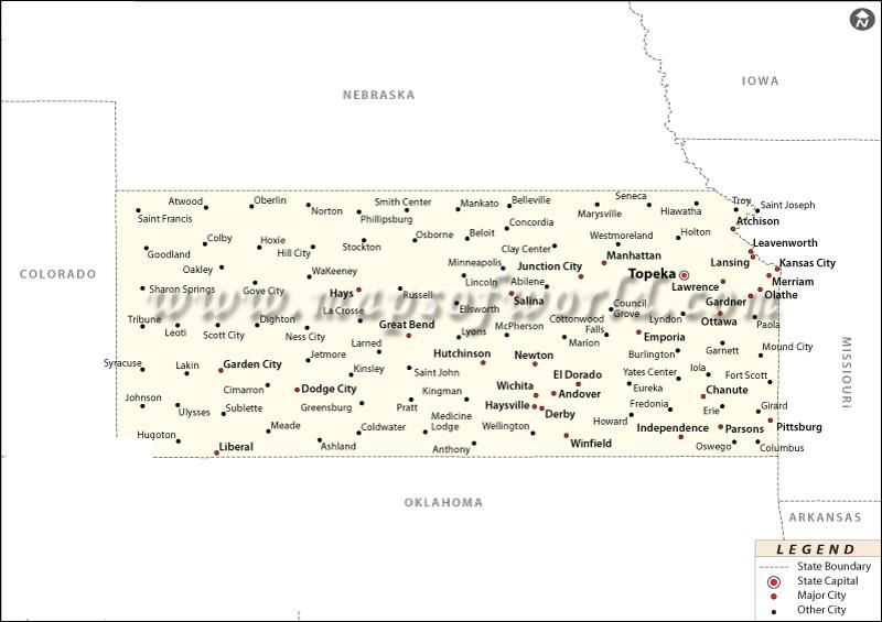 Map of Kansas | State Map of USA