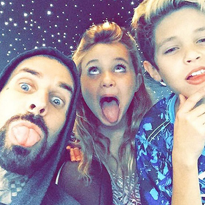 Travis Barker with daughter Alabama Luella and the son Landon 003