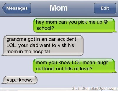 Messenger text by Mom on her Mother in Law Very Funny Humor Cartoon
