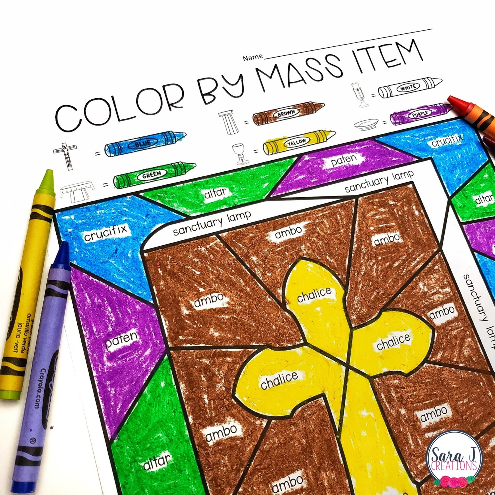 Catholic Color By Mass Item Coloring Pages