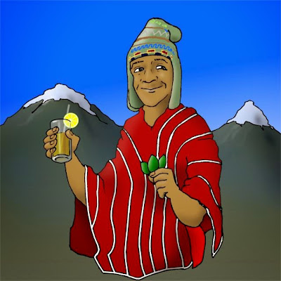 Image of indigenous man drinking coca tea.