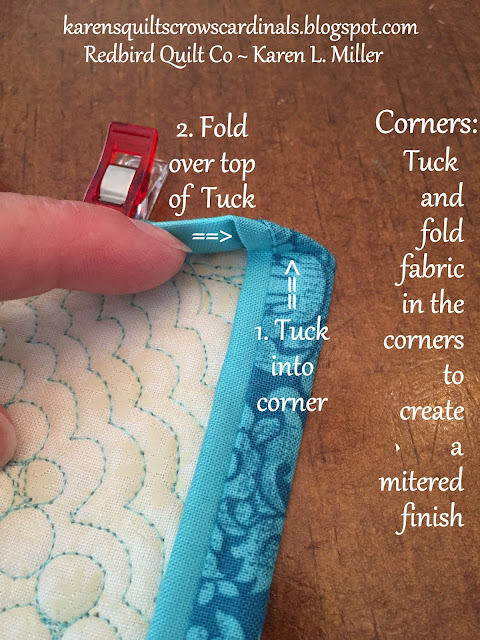 Karen's Quilts, Crows and Cardinals: Tutorial - Mitered and ... : how to machine bind a quilt - Adamdwight.com