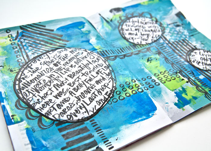 side view of Art Journal Page. Video tutorial by Kim Dellow