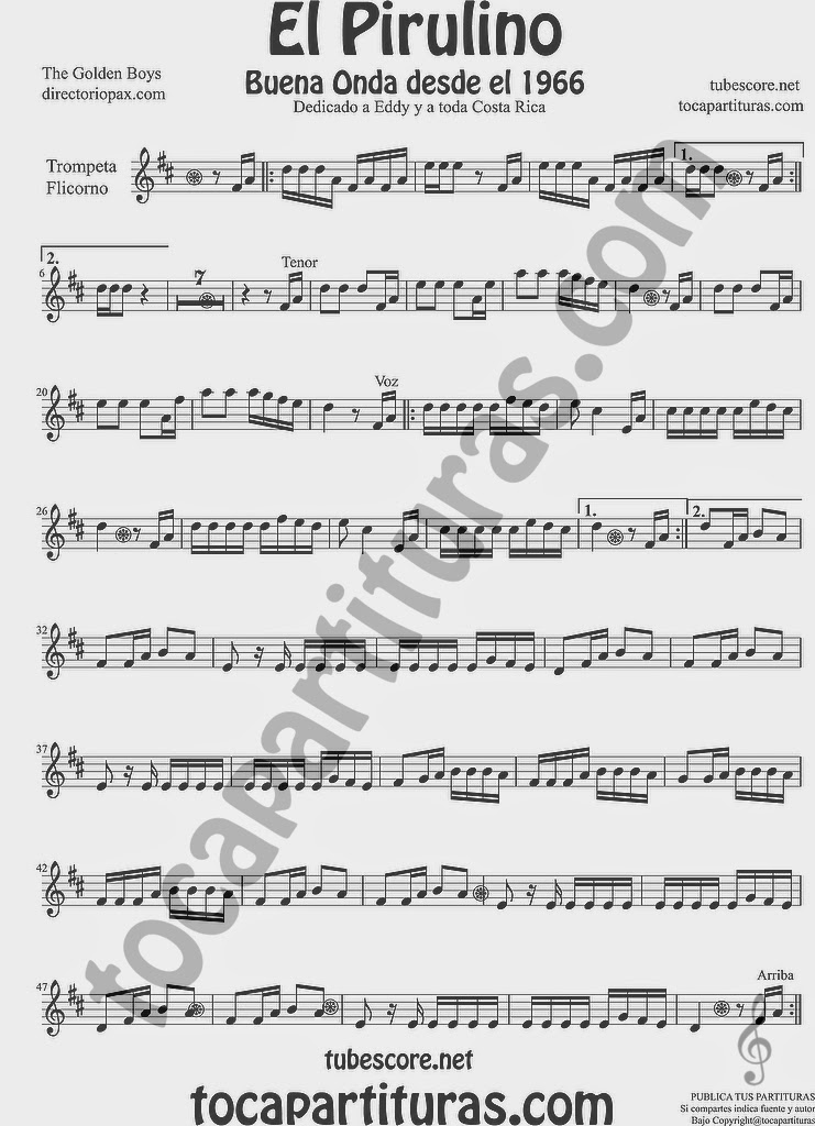 El Pirulino Partitura de Trompeta y Fliscorno Sheet Music for Trumpet and Flugelhorn Music Scores by The Golden Boys para Costa Rica