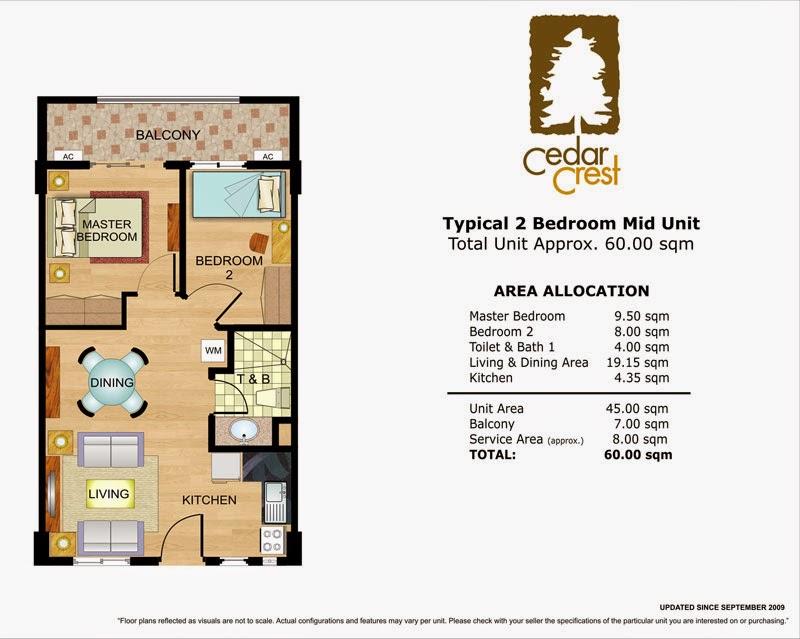 Cedar Crest 2-Bedroom Unit 60.00 sqm.