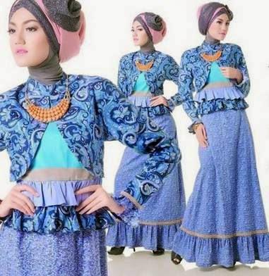 Contoh desain baju batik muslim casual untuk remaja