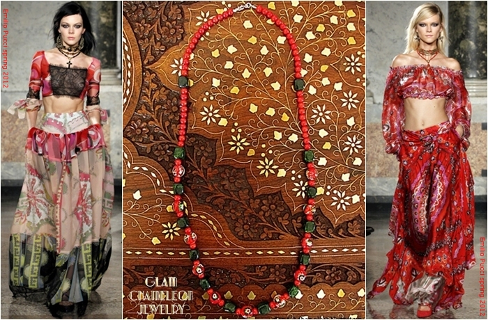 Glam Chameleon Jewelry red coral red glass beads dark green jasper necklace
