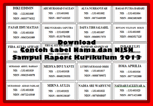 Contoh Label Nama Dan NISN Untuk Sampul Raport Kurikulum 2013 Terbaru
