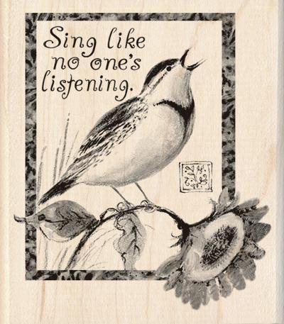 Inkadinkado Wood Stamp Sing Like No Other Bird