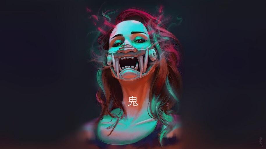 Cyberpunk, Girl, Futuristic, Oni Mask, 4K, #4.3076