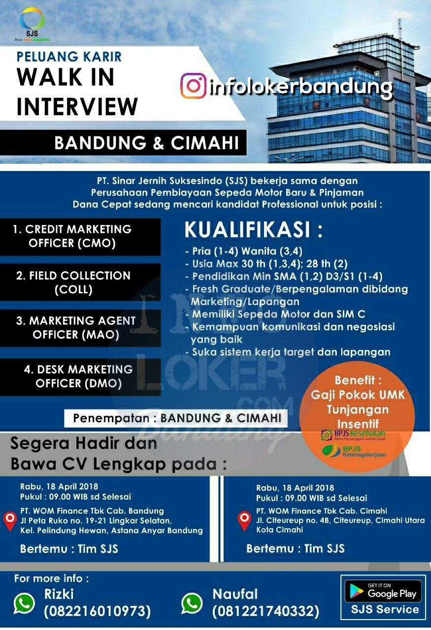 Walk In Interview 18 April 2018 PT. Sinar Jernih Suksesindo