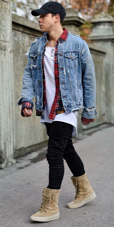 Look Masculino com boné preto, Xadrez e Jaqueta Jeans Destroyed