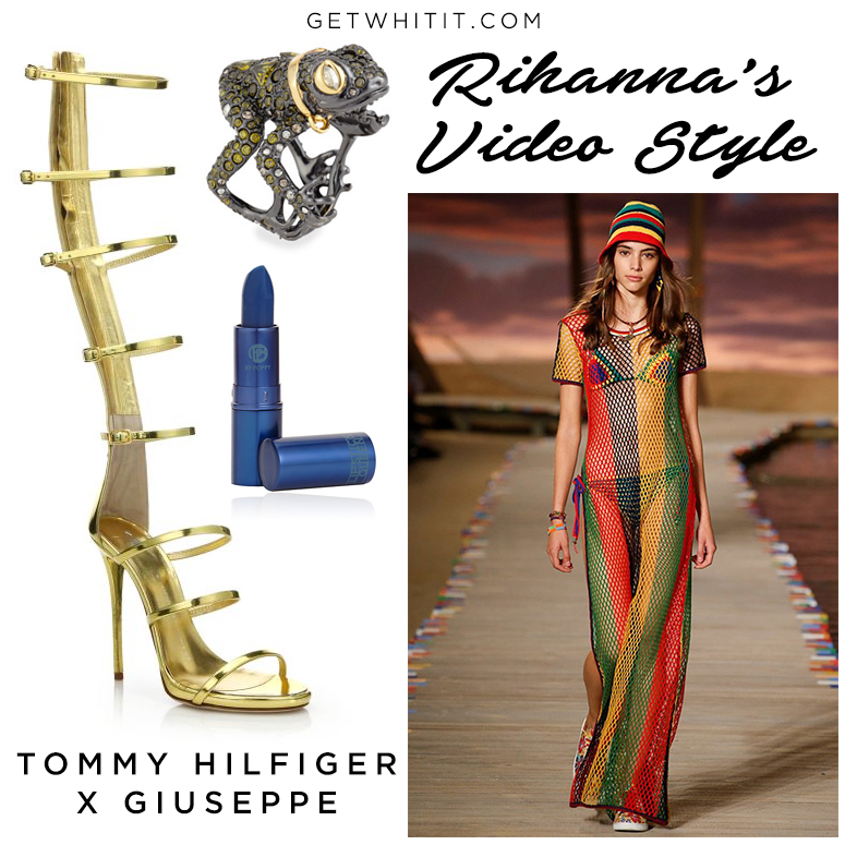 In The First Video Directed By Director X Rihanna S Look Was Styled Anna Trevelyan Wore This Tommy Hilfiger Rasta Crotchet Beach Dress And