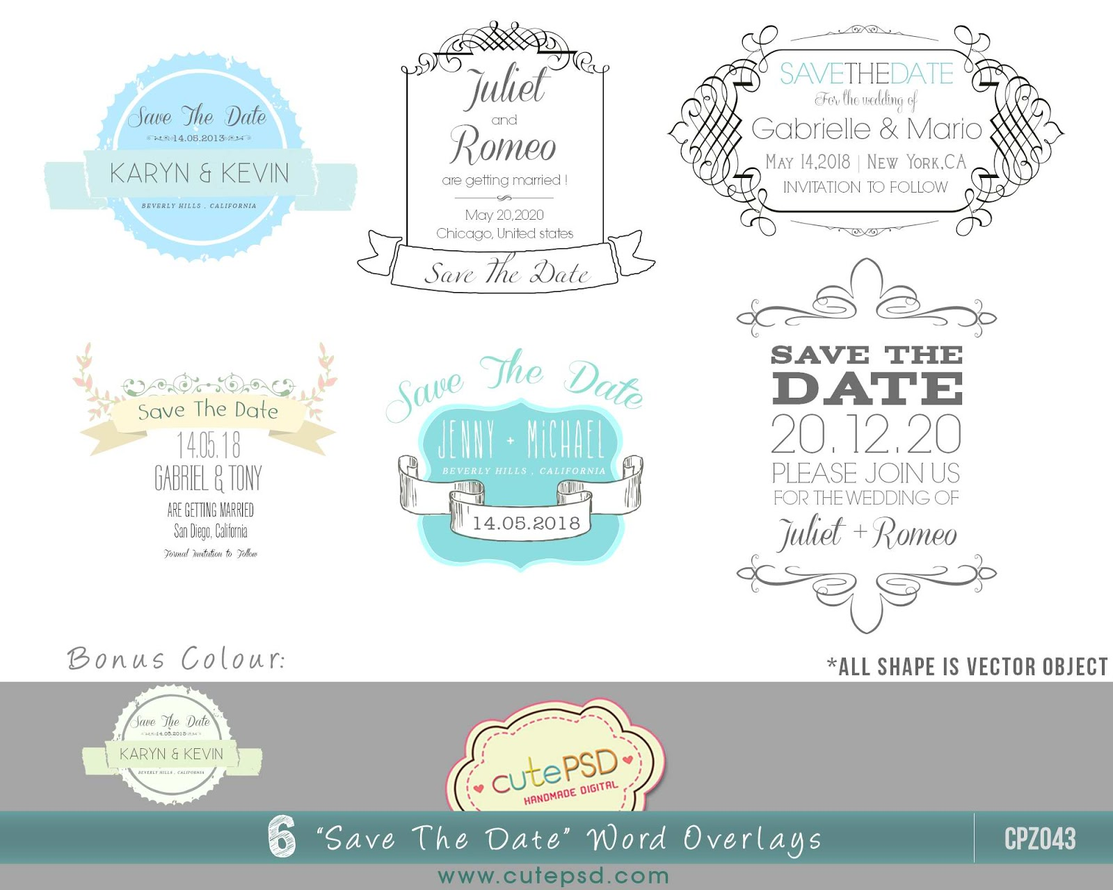 Brand-new Cute Psd Studio: Save-the-date Photo Overlays Photoshop Template  RO53