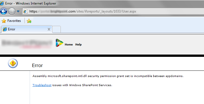 Assembly microsoft.sharepoint.intl.dll security permission grant set is incompatible between appdomains