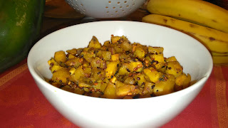 plantain curry with roasted lentils for seasoning texture