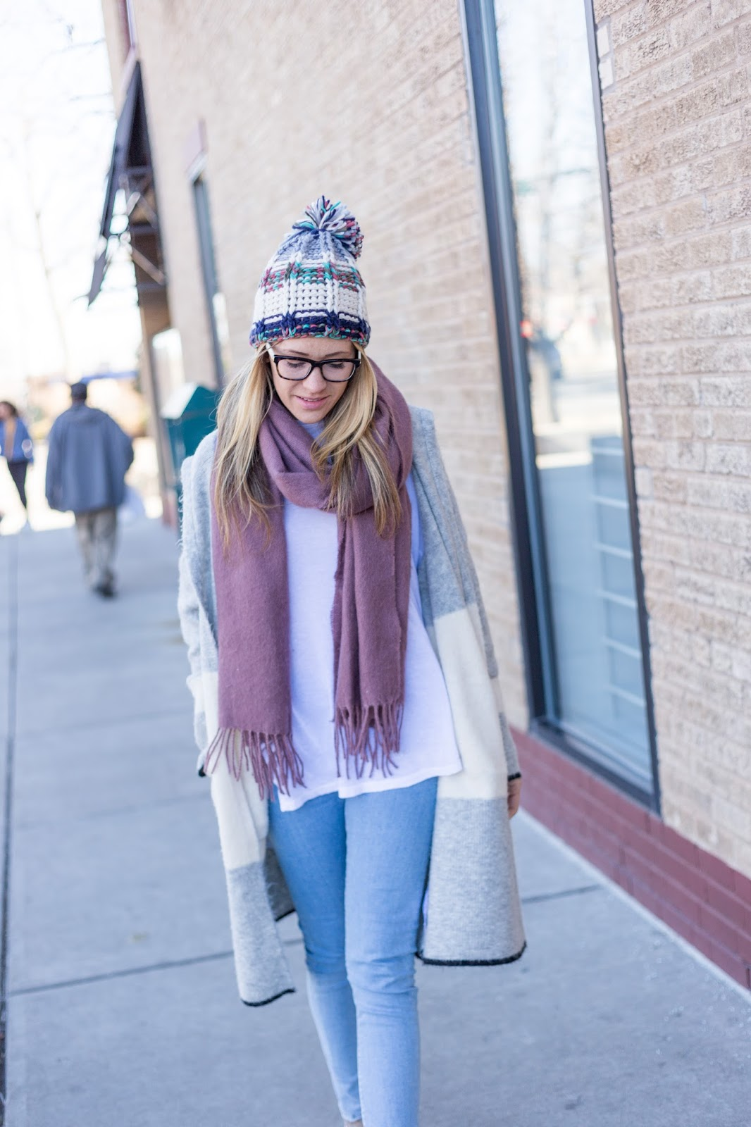 Fringe Scarf and Pom Beanie