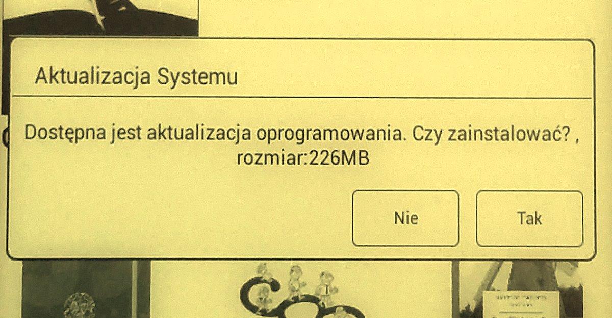 InkBOOK Classic 2 - komunikat z pytaniem o to, czy pobrać aktualizację oprogramowania