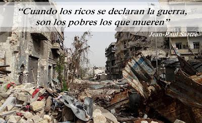 imagen de la frase de Jean-Paul Sartre Cuando los ricos se declaran la guerra, son los pobres los que mueren