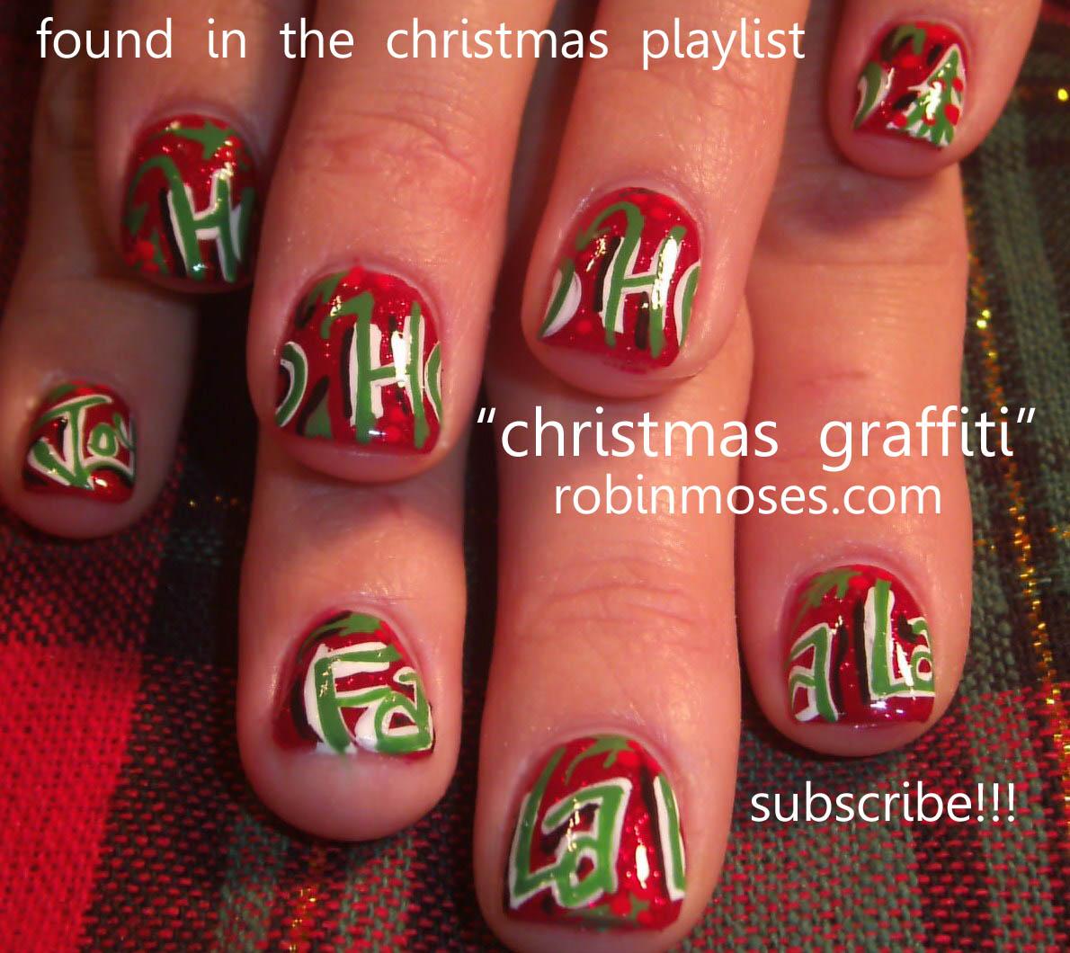 Nail Art by Robin Moses: black with red ribbon nail, red and green ...
