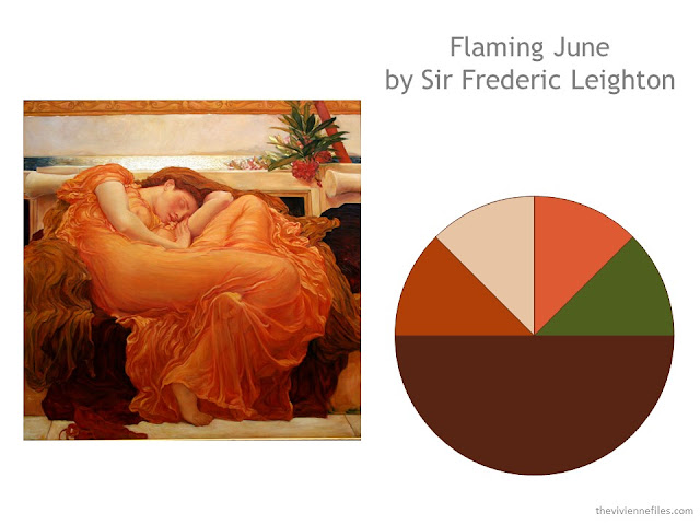 Flaming June by Sir Frederic Leighton, and a color scheme drawn from that painting