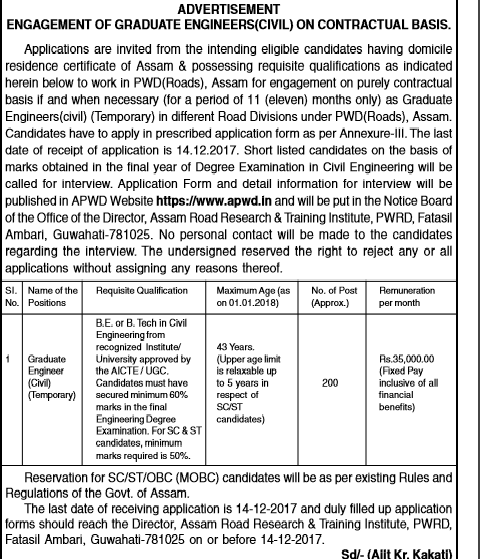 Assam Pwd Civil Engineer Govt Jobs Recruitment