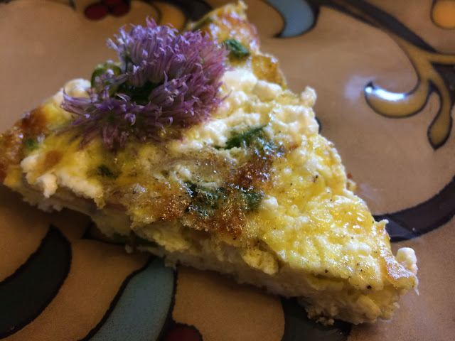 chive blossom flower frittata with asparagus radishes and goat cheese