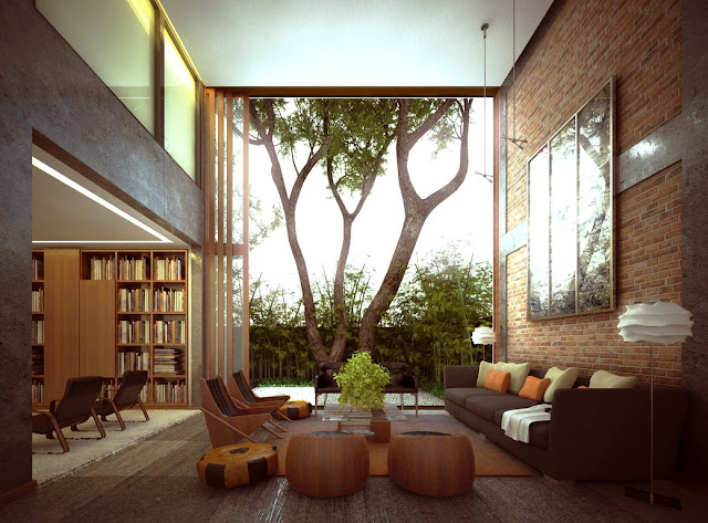 Make your inside seem outside with an exposed brick wall beside a climb-worthy tree.
