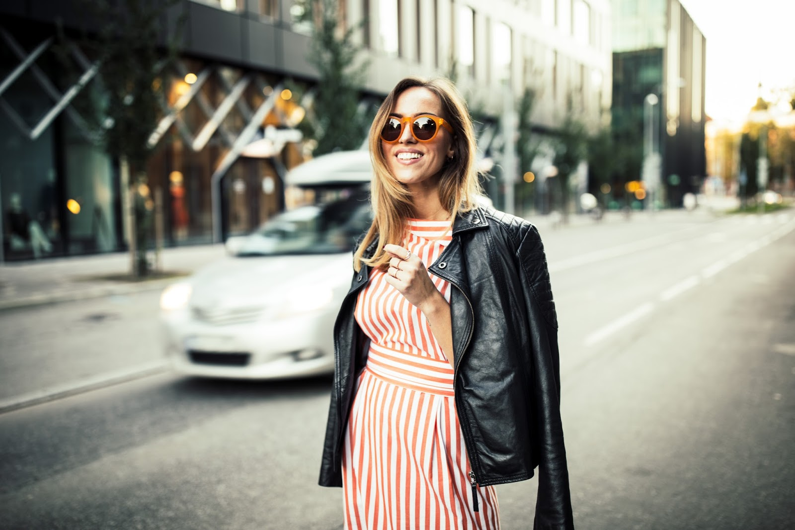 orange sunglasses striped dress