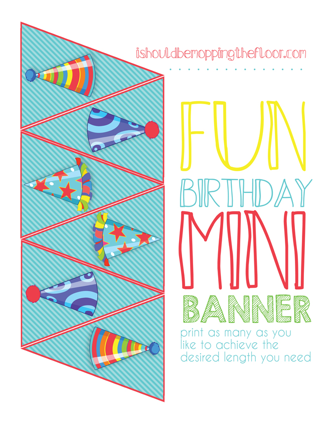 Free Printable Mini Birthday Banner: perfect for cake toppers or hanging in fun little places!