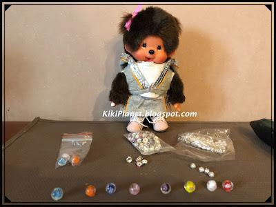 kiki monchhichi miniature diy, do it yourself, tutorial, handmade, fait main, accessoires poupées, accessories dolls, flacon de parfum, bouteille, bead