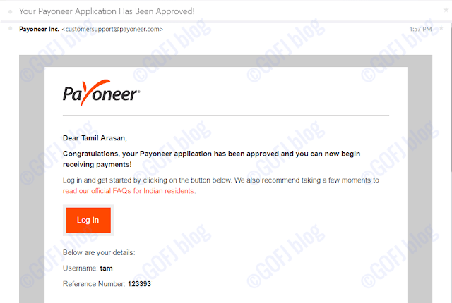 Payoneer account approved email