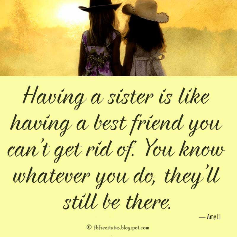 "Sister Quotes, ""Having a sister is like having a best friend you can't get rid of. You know whatever you do, they'll still be there."" – Amy Li"