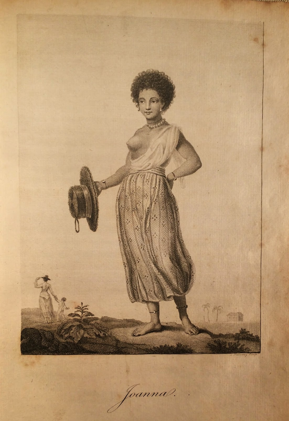 A full-page illustration of Joanna, a mixed-race woman, depicted in jewelry and revealing clothing. In the background are the small figures of another woman holding the hand of a child.
